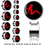 Steel Black Red Mud Flap Girl Screw Fit Plug