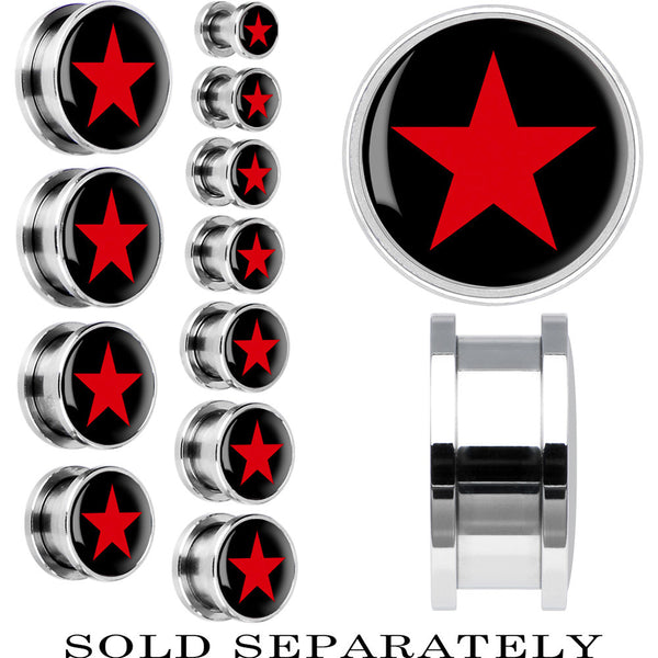 Steel Black Red Star Screw Fit Plug