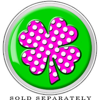 Pink White Polka Dot Four Leaf Clover Screw Fit Plug