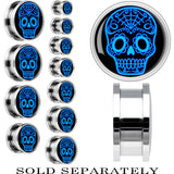 Steel Blue Sugar Skull Art Screw Fit Plug
