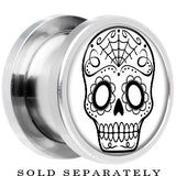Steel White Black Sugar Skull Art Screw Fit Plug