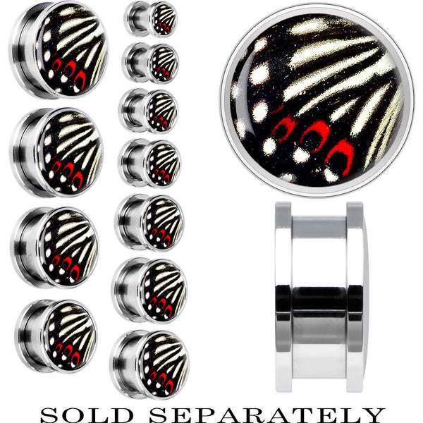 Steel White and Red Butterfly Wing Screw Fit Plug