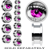 Steel Purple Sky Human Eye Screw Fit Plug