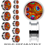 Steel Psychedelic Peacock Feathers Image Screw Fit Plug