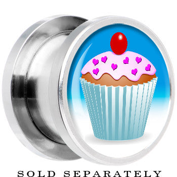 Steel Heart Sprinkled Frosted Cupcake Screw Fit Plug