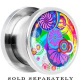 Steel Retro Colorful Oriental Kimono Print Floral Screw Fit Plug