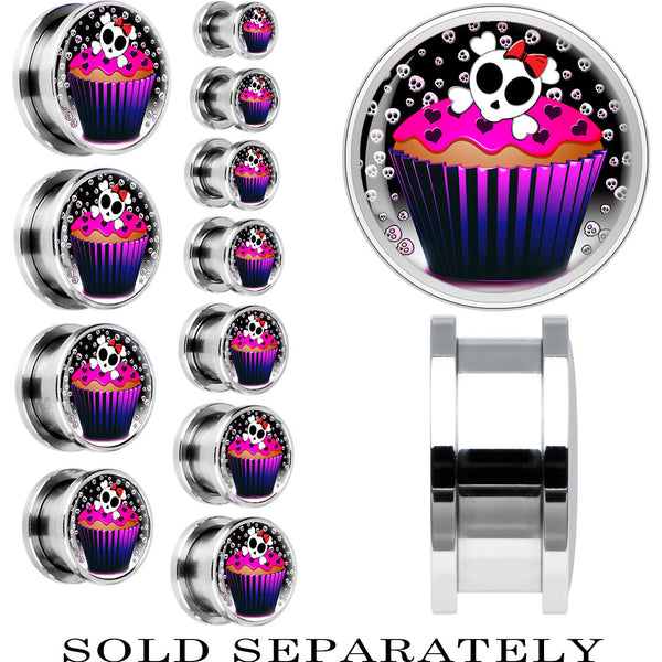 Steel Skeletal Backdrop Skull and Bones Cupcake Screw Fit Plug