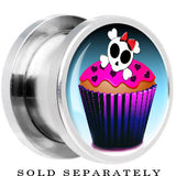 Steel Skull and Bones Cupcake Screw Fit Plug