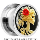 Steel Red Rose Skeleton Cameo Screw Fit Plug