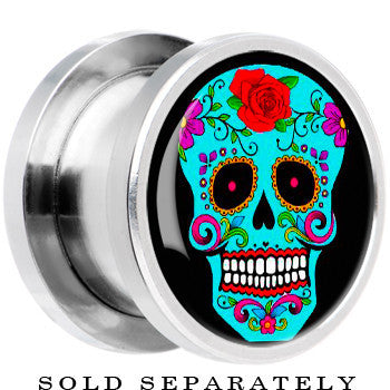 Steel Blue Sugar Skull Screw Fit Plug