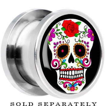 Steel White Sugar Skull Screw Fit Plug