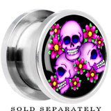 Steel Floral Three Skulls Screw Fit Plug