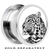 Steel Monochrome Cheetah Tiger Screw Fit Plug
