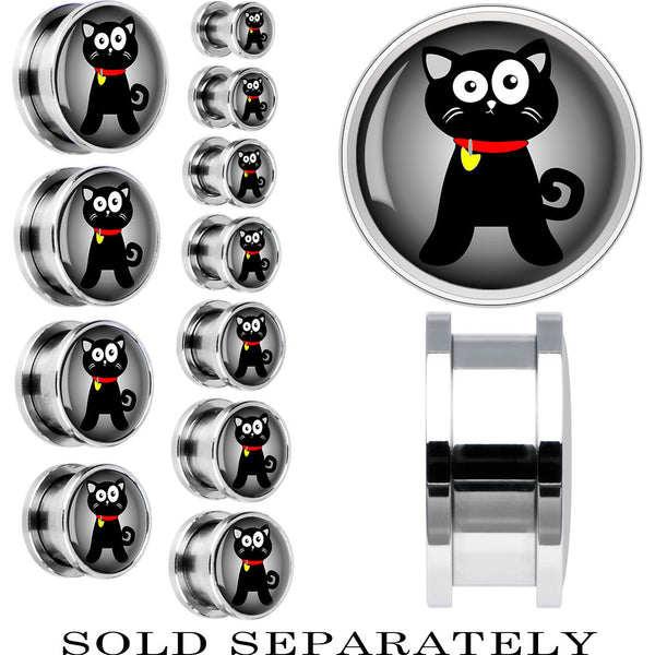 Steel Halloween Black Cat Screw Fit Plug