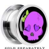 Steel Purple Skull with Green Bow Screw Fit Plug