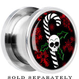 Steel Christmas Skull Holly Candy Cane Screw Fit Plug