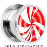 Steel Red White Peppermint Holiday Candy Screw Fit Plug