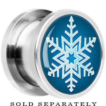 Steel Blue Holiday Snowflake Screw Fit Plug
