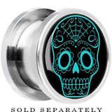Steel Black Turquoise Sugar Skull Screw Fit Plug