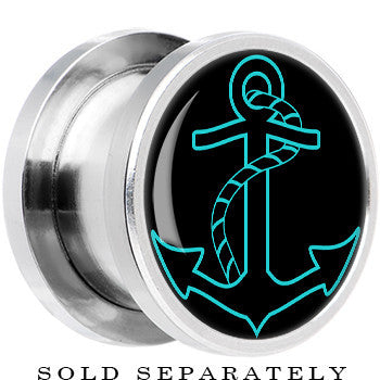 Steel Black Turquoise Outline Anchor Screw Fit Plug