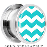 Steel Turquoise White Chevron Screw Fit Plug