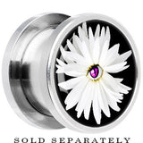Steel White Daisy Flower Screw Fit Plug