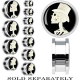 Steel White Top Hat Skeleton Cameo Screw Fit Plug