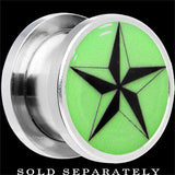 Nautical Star Glow in the Dark Screw Fit Plug in Stainless Steel