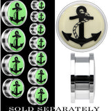 Nautical Anchor Glow in the Dark Screw Fit Plug in Stainless Steel