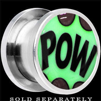 Comic Pow Glow in the Dark Screw Fit Plug in Stainless Steel