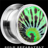 Tie Dye Glow in the Dark Screw Fit Plug in Stainless Steel