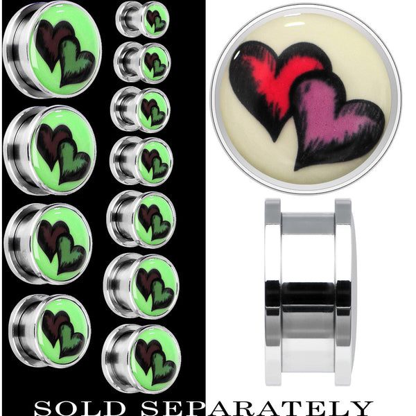 Red Purple Heart Glow in the Dark Screw Fit Plug in Stainless Steel