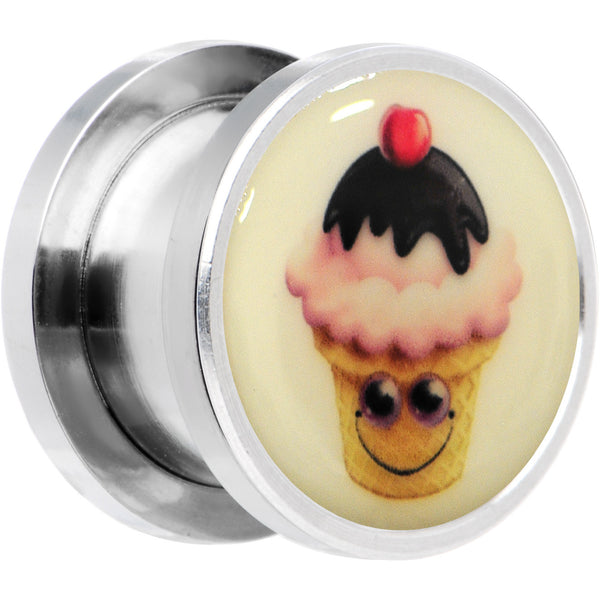 Ice Cream Cone Glow in the Dark Screw Fit Plug in Stainless Steel