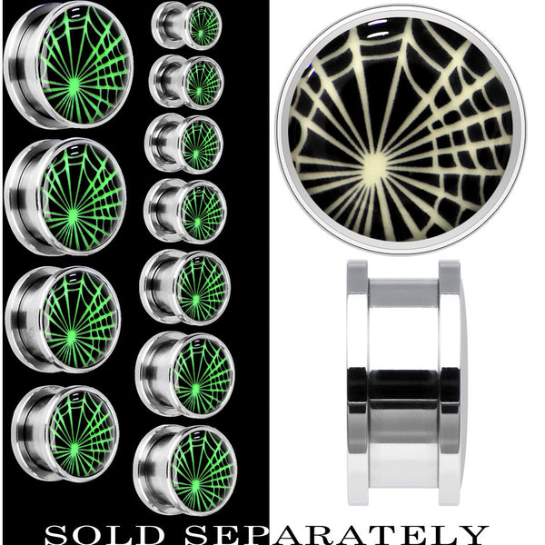 Spider Web Glow in the Dark Screw Fit Plug in Stainless Steel