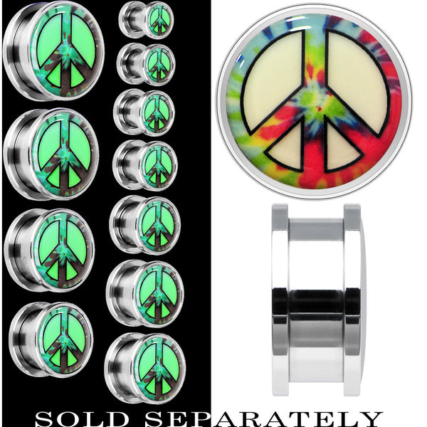 Tie Dyed Peace Sign Glow in the Dark Screw Fit Plug in Stainless Steel