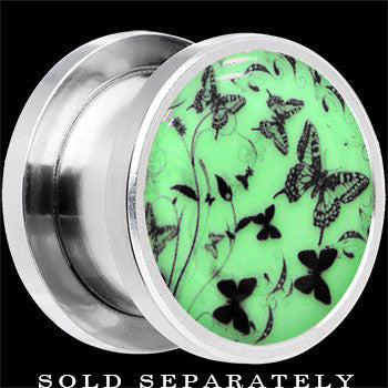 Flight of the Butterflies Glow in the Dark Screw Fit Plug in Stainless Steel