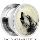 Howling Wolf Glow in the Dark Screw Fit Plug in Stainless Steel