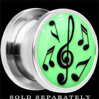 Music Notes Glow in the Dark Screw Fit Plug in Stainless Steel