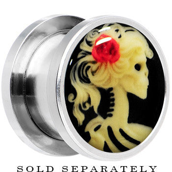 Red Rose Flower Skeleton Cameo Glow in the Dark Screw Fit Plug in Stainless Steel