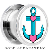 Tattoo Inspired Steel Turquoise Nautical Love Anchor Screw Fit Plug
