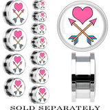 Tattoo Inspired Steel Pink Heart Cupid Arrows Screw Fit Plug