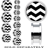 Black White Chevron Steel Screw Fit Plug