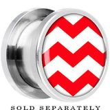 Red White Chevron Steel Screw Fit Plug