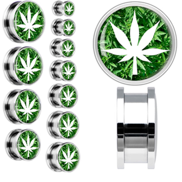 Field of Ganja Leaves White Pot Leaf Screw Fit Plug in Stainless Steel