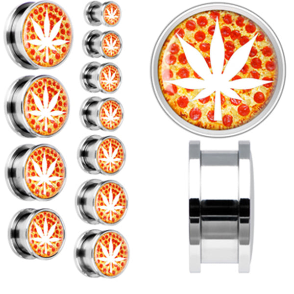Hot Pepperoni Pizza White Pot Leaf Screw Fit Plug in Stainless Steel