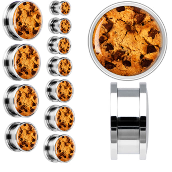 Chocolate Chip Cookie Screw Fit Plug in Stainless Steel