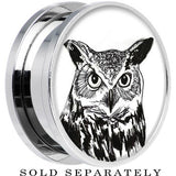 Arty Horned Owl Screw Fit Plug in Stainless Steel