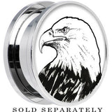 Arty Bald Eagle Screw Fit Plug in Stainless Steel