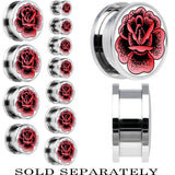 Pink Stippled Rose Screw Fit Plug in Stainless Steel
