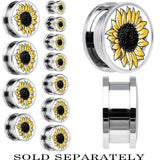 Yellow Sunflower Screw Fit Plug in Stainless Steel